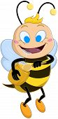 Vector illustration of a cute bee holds honey jar and drools poster