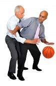 Two businessmen playing basketball isolated in white poster