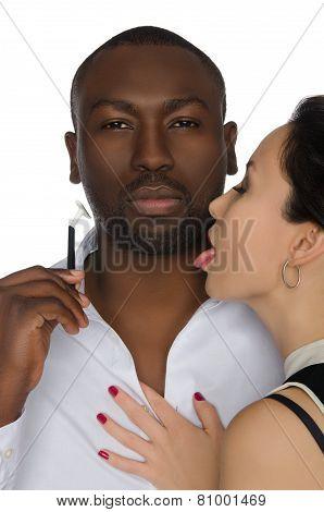 Asian Licks His Cheek Dark-skinned Men With Razor