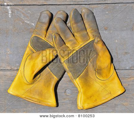 Old gloves on wood