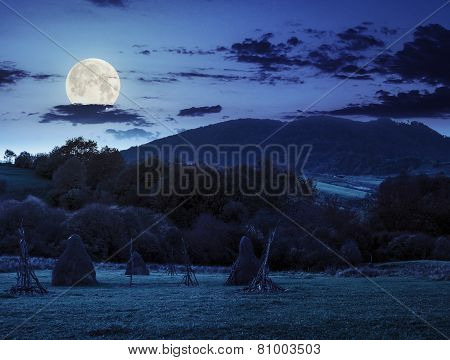 Agriculture Field In Mountains At Night