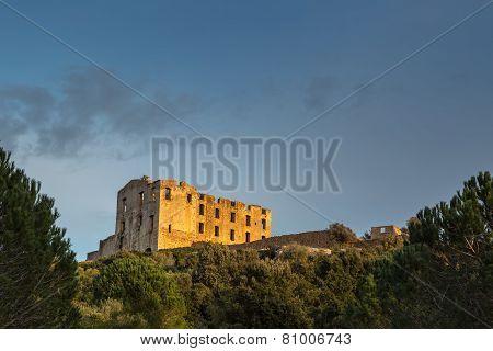 Ruin At Torre Mozza Near Argentella In Corsica