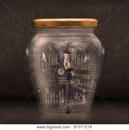 Businessman traped in jar with graph chart symbols concept on background poster