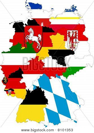 Germany Map Of States Collage With Flags