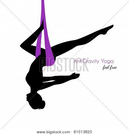 Vector illustration of Anti-gravity yoga poses woman silhouette poster