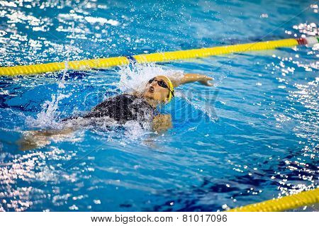 Milan - December  23: V. Neri Performing Backstroke  In  Swimming Meeting Brema Cup On December  23,