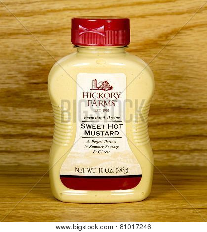 Bottle Of Hickory Farms Sweet Hot Mustard