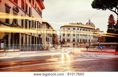 Light Of Car Traffic On Piazza D'aracoeli