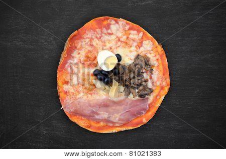 Pizza On Black Wood
