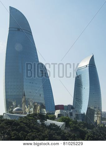 Baku - May 31, 2014: Flame Towers On May 31 In Azerbaijan, Baku. Flame Towers Are New Skyscrapers In
