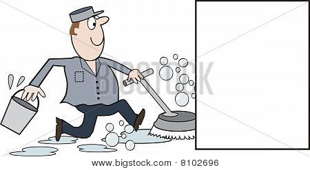 Commerical cleaner cartoon