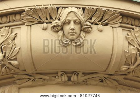 Art Nouveau mascaron in Hradec Kralove, East Bohemia, Czech Republic.