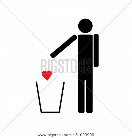 Man Throws A Red Heart In The Trash