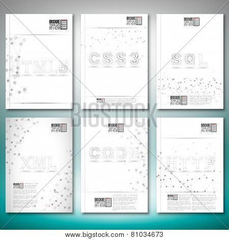 Three dimensional mesh stylish words- html5, css3, sql, xml, code, http. Brochure, flyer or report f