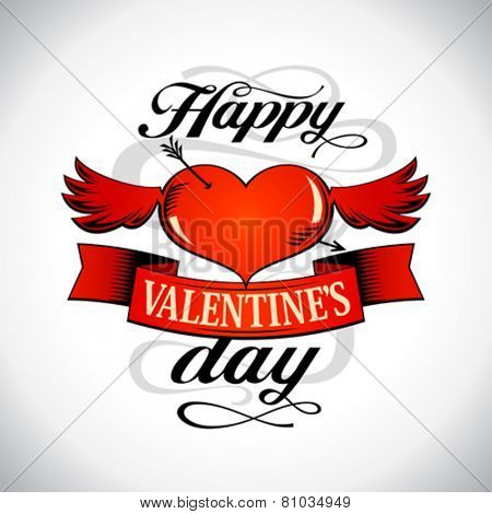 Happy Valentine`s day design with winged heart.