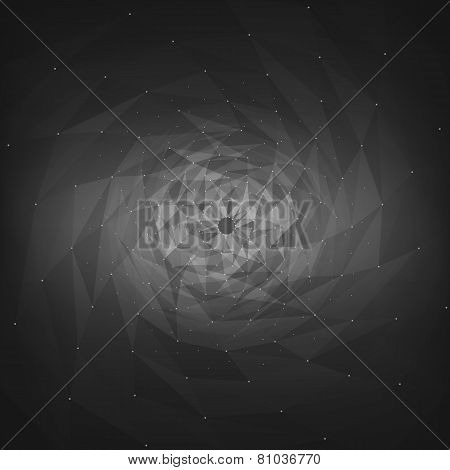 Abstract vector mesh background. Futuristic technology style. Flying debris. eps10