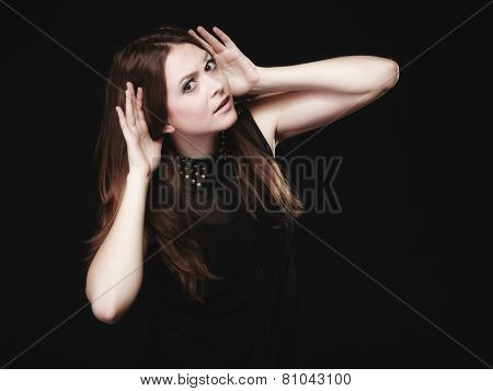Gossip. Young Woman With Hands To Ear Listening
