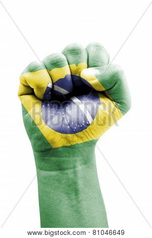 Federative Republic of Brazil Flag Fist Painted Isolated on White Background. poster