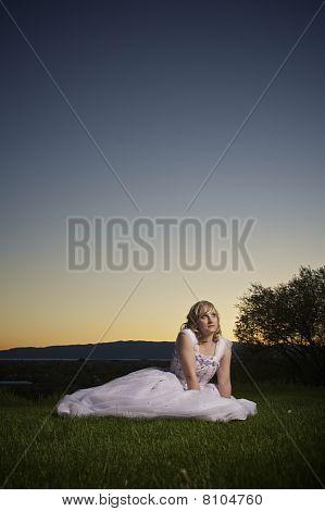 Pretty Blonde In Prom Dress