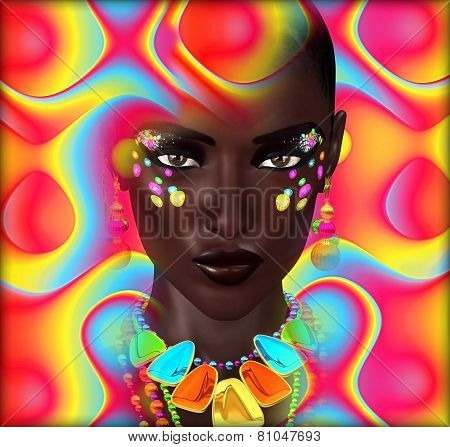 Beautiful Black Woman on Colorful Background