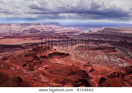 Looking down at Shafer Trail in Canyonlands poster