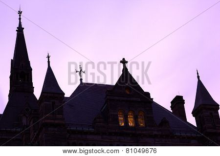 Georgetown University silhouette after sunset.