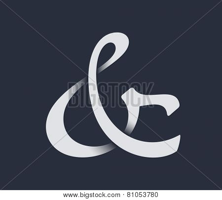Custom ampersand with shadow. Vector illustration