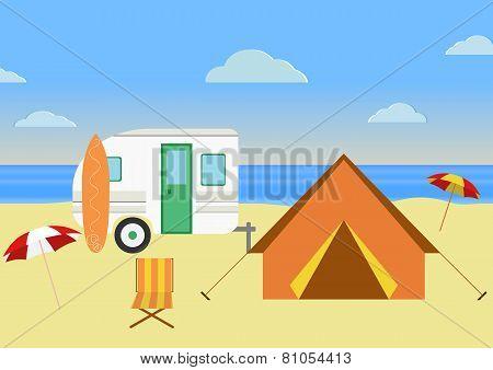 Retro Caravan On The Beach, Summer Vacation,retro Background. Flat Design