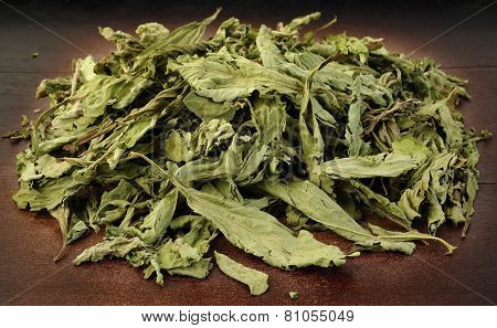 Dried Stevia On Wooden Background