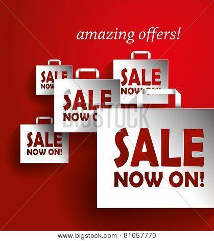 Sale Vector Poster, 3D Paper Graphics