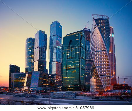 Skyscrapers Buildings Of Moscow City Business Complex At Dusk, Moscow, Russia.