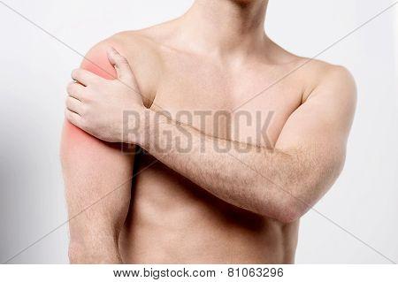 Muscular Man Discomfort On Shoulder