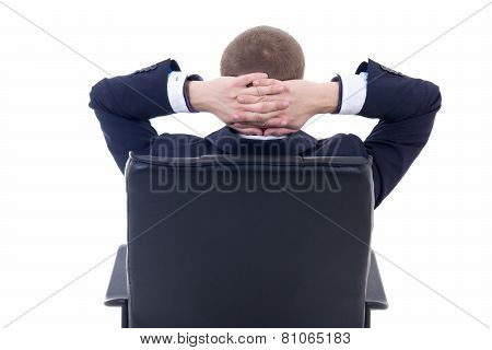 Back View Of Business Man Sitting On Office Chair Isolated On White