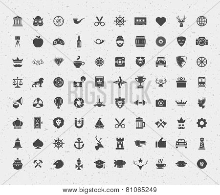 80 retro style objects for isnsignia, logotypes, t shirt, label design. Constains objects and icons: hipster, deer, lions, hipster, crown, bear, heart and other. Vector illustration.