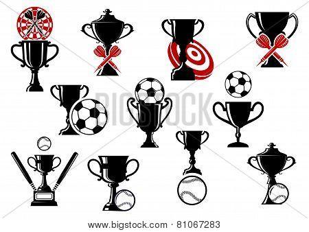 Football or soccer, darts, baseball competition symbols