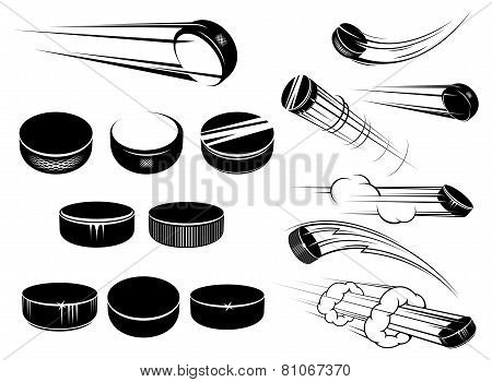Ice hockey pucks set