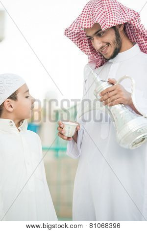 Arabic hospitality symbol as pouring dallah or coffee pot poster