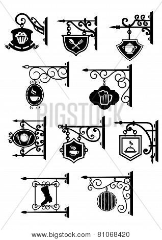 Street signboards with forged brackets