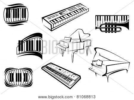 Outline sketch piano music icons