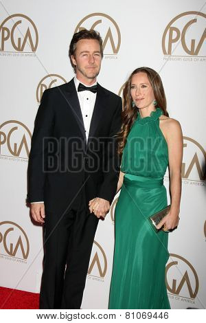 LOS ANGELES - JAN 24:  Edward Norton, Shauna Robertson at the Producers Guild of America Awards 2015 at a Century Plaza Hotel on January 24, 2015 in Century City, CA