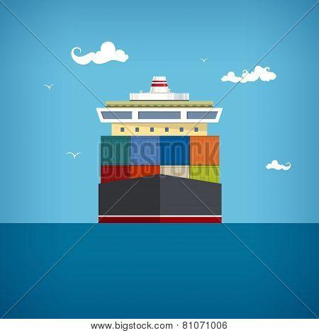 Cargo Container Ship, Vector Illustration