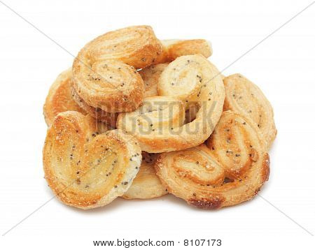 Pile Of Poppy Seed Cookies Stacked, Isolated