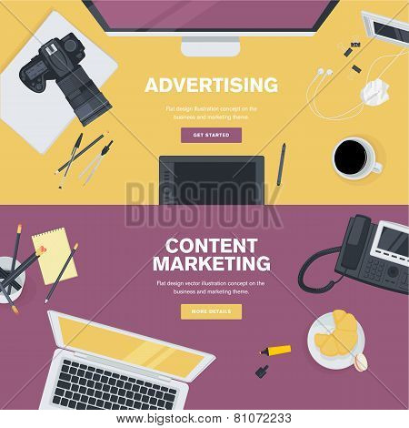 Set of flat design illustration concepts for business and marketing