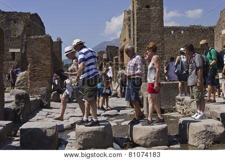 People Walking In The Famous Pompei Archaelogical site