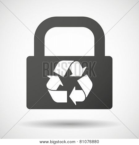 Lock Icon With A Recycle Sign