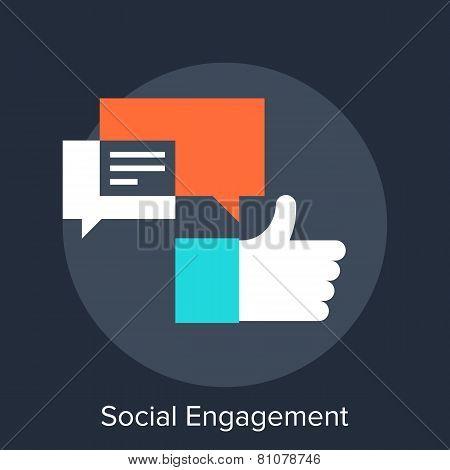 Vector illustration of social engagement flat design concept. poster