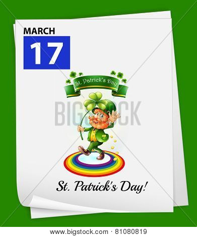 A calendar showing the 17th of March on a green background