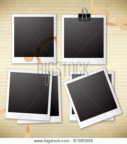 A group of empty photo frames