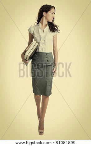 Beautiful Bussinesswoman Looking Over Her Shoulder