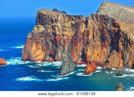 Arid eastern tip of the island of Madeira. Atlantic storms. Colorful pinnacles lit sunset